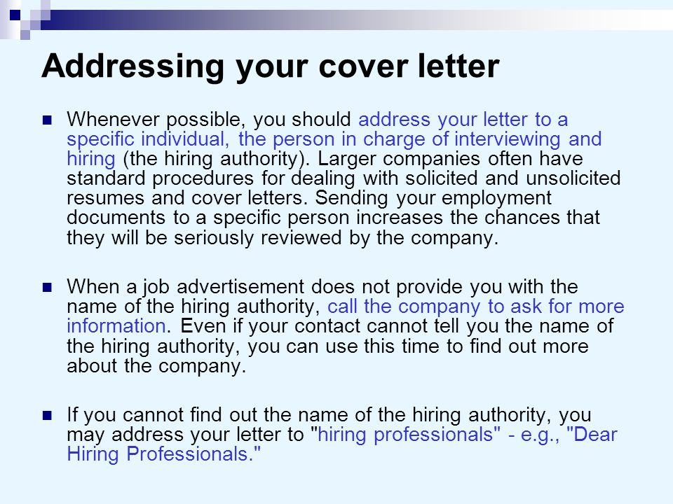 Cover letters and business letters ppt video online download for Addressing hiring manager in cover letter