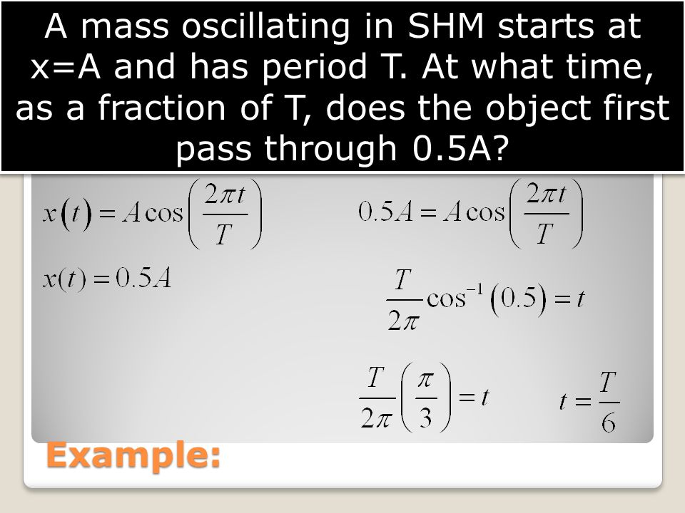 A mass oscillating in SHM starts at x=A and has period T