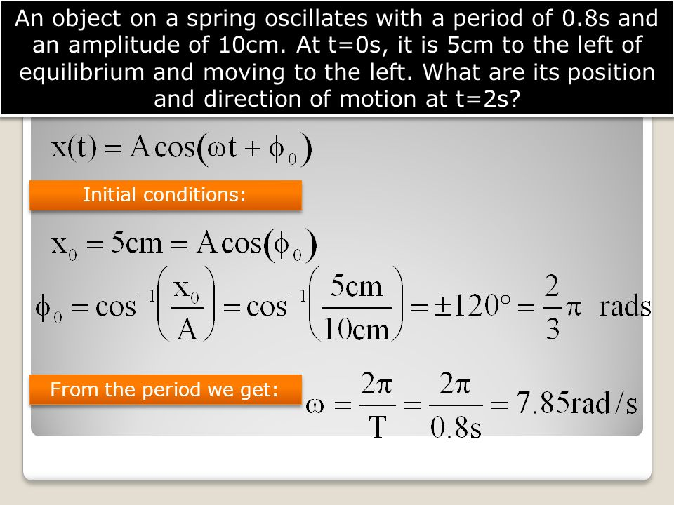 An object on a spring oscillates with a period of 0