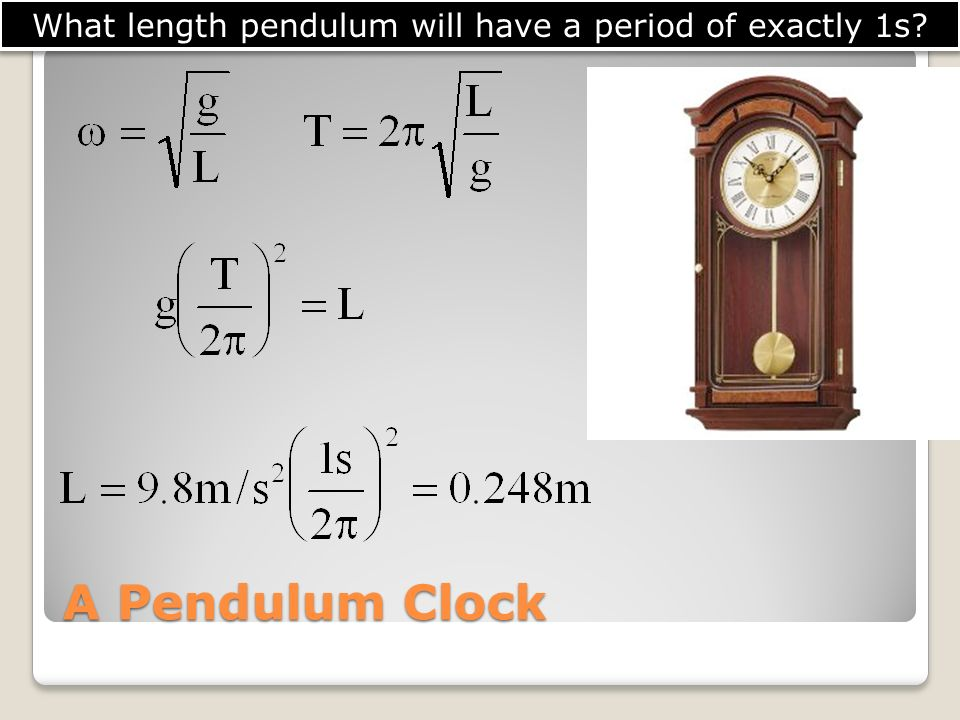 What length pendulum will have a period of exactly 1s
