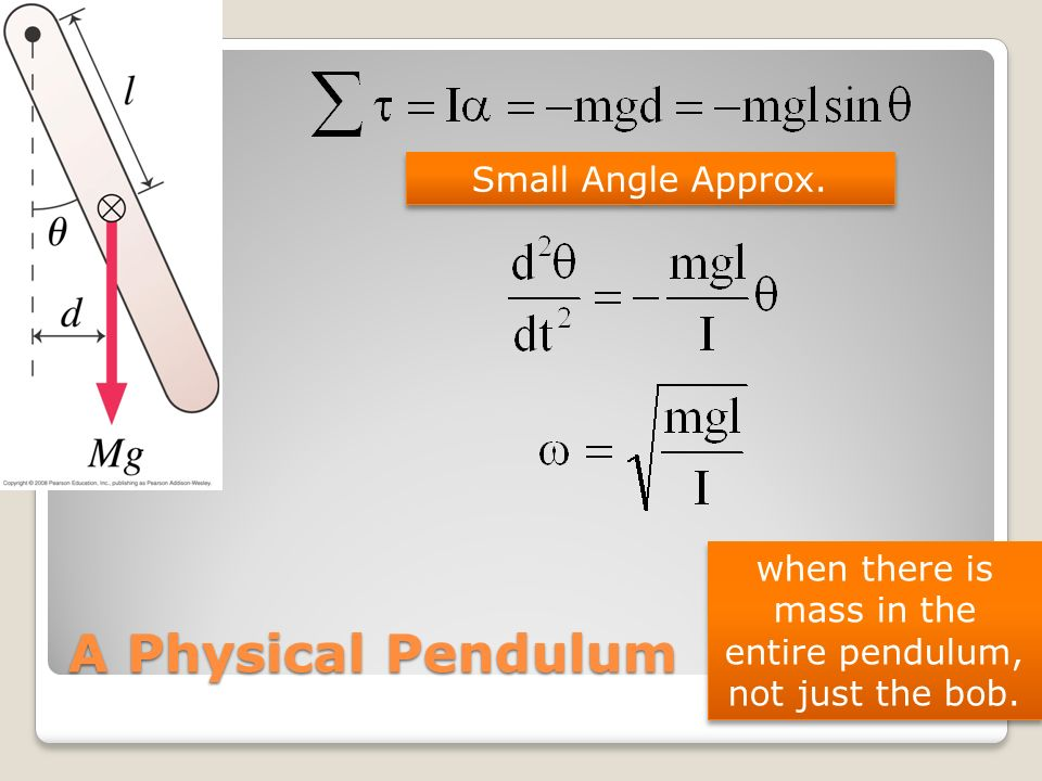 when there is mass in the entire pendulum, not just the bob.