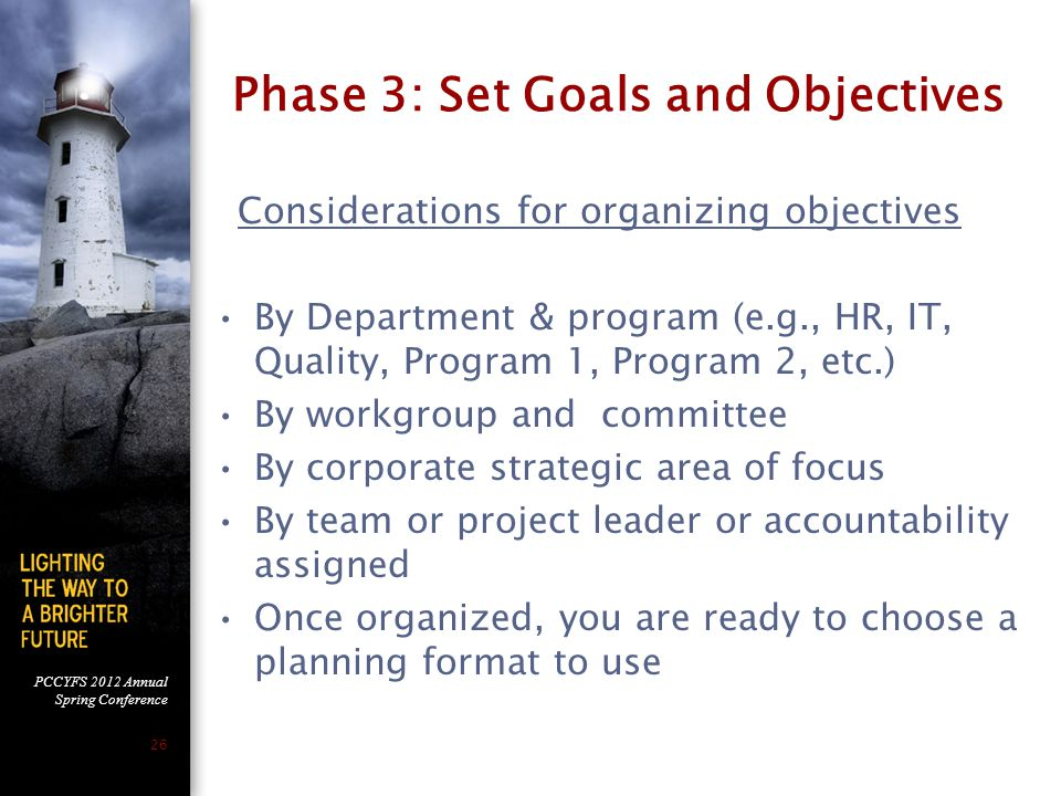 Phase 3: Set Goals and Objectives