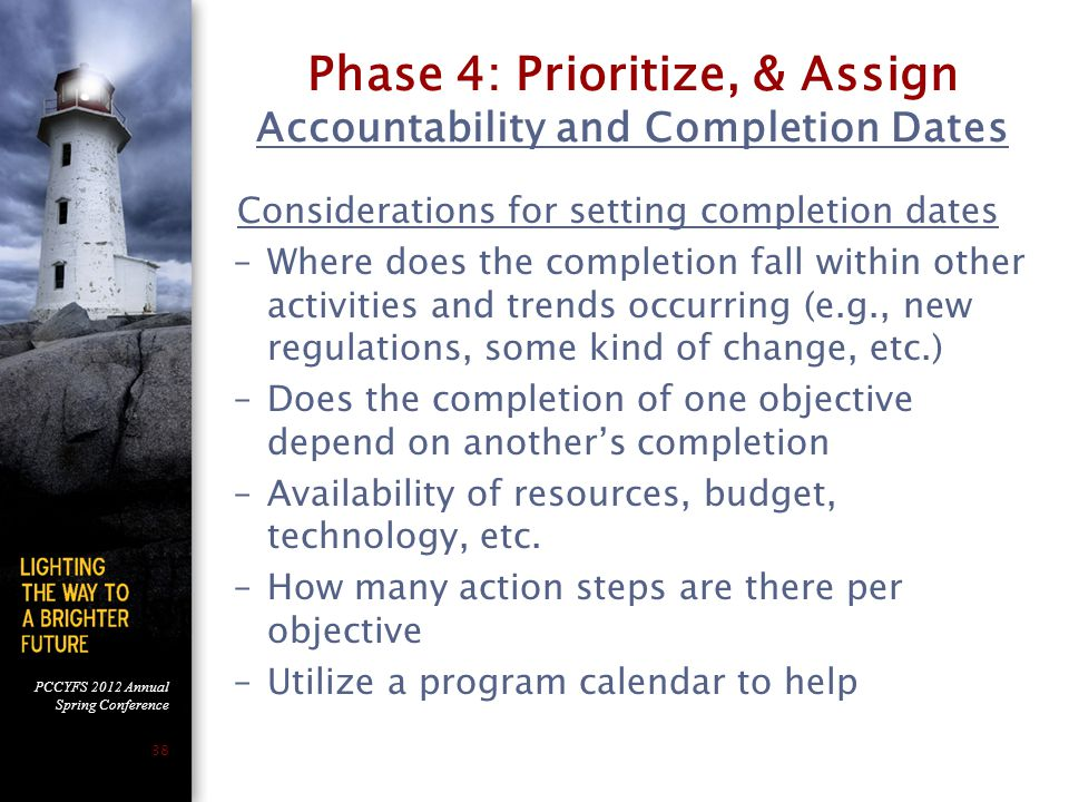 Phase 4: Prioritize, & Assign Accountability and Completion Dates