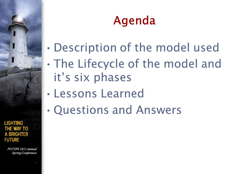 Agenda Description of the model used. The Lifecycle of the model and it's six phases. Lessons Learned.