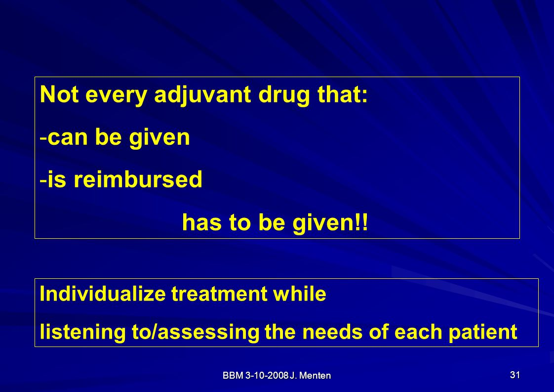 Not every adjuvant drug that: can be given is reimbursed