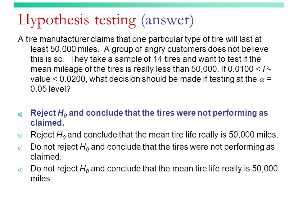 Hypothesis testing (answer)