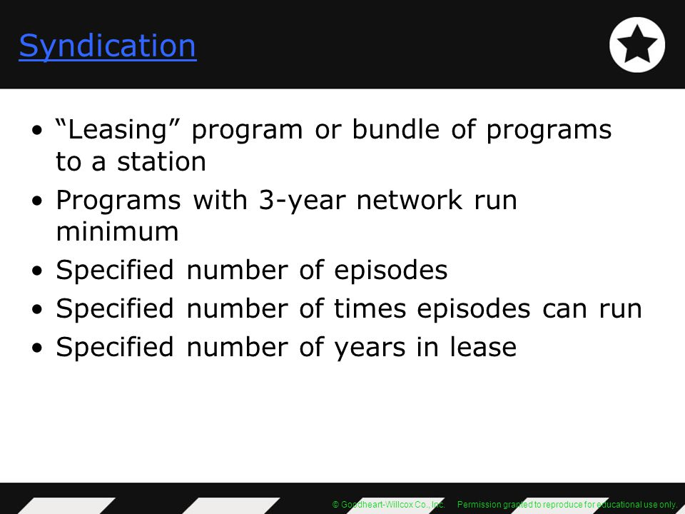 Syndication Leasing program or bundle of programs to a station