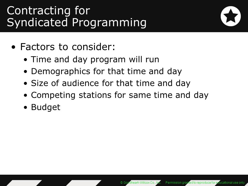 Contracting for Syndicated Programming