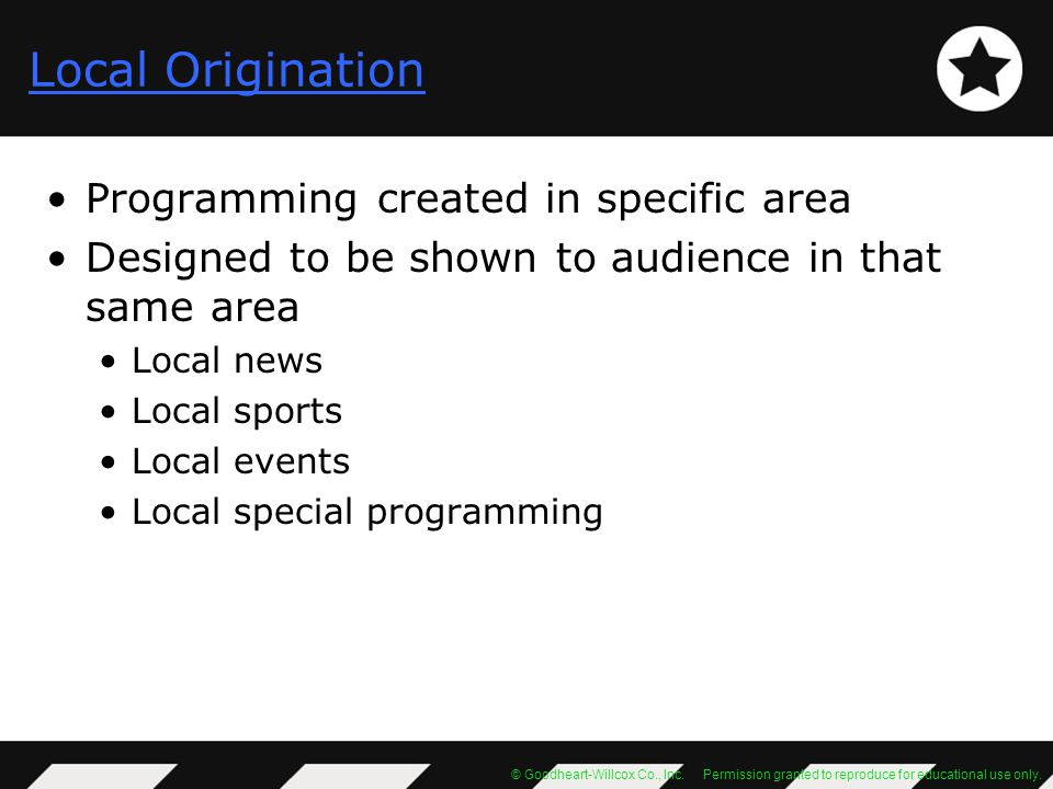 Local Origination Programming created in specific area