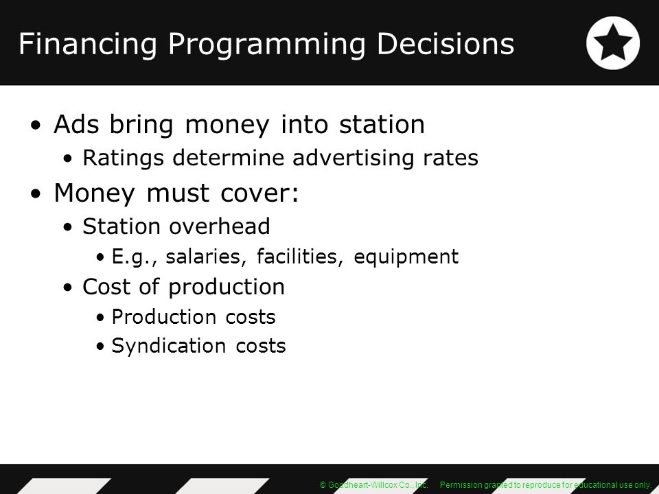 Financing Programming Decisions