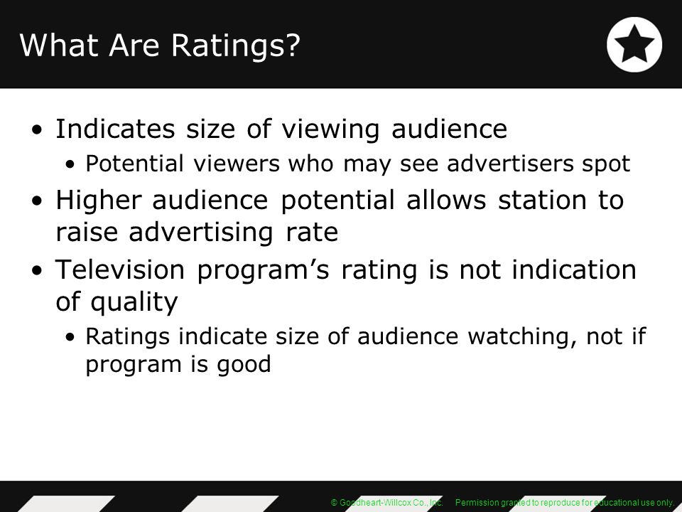 What Are Ratings Indicates size of viewing audience