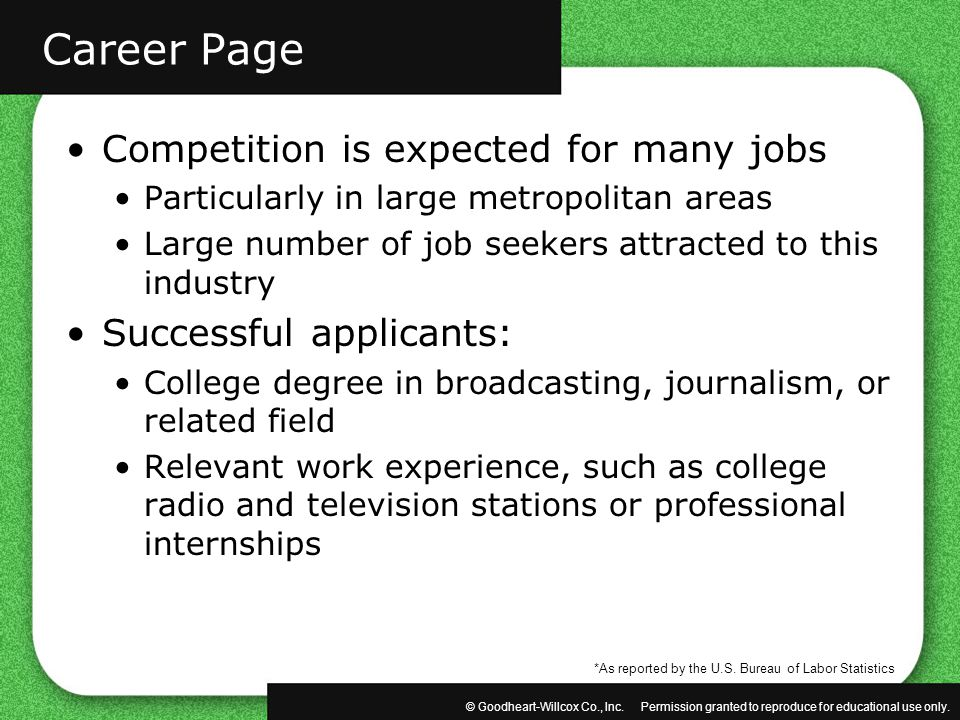 Career Page Competition is expected for many jobs