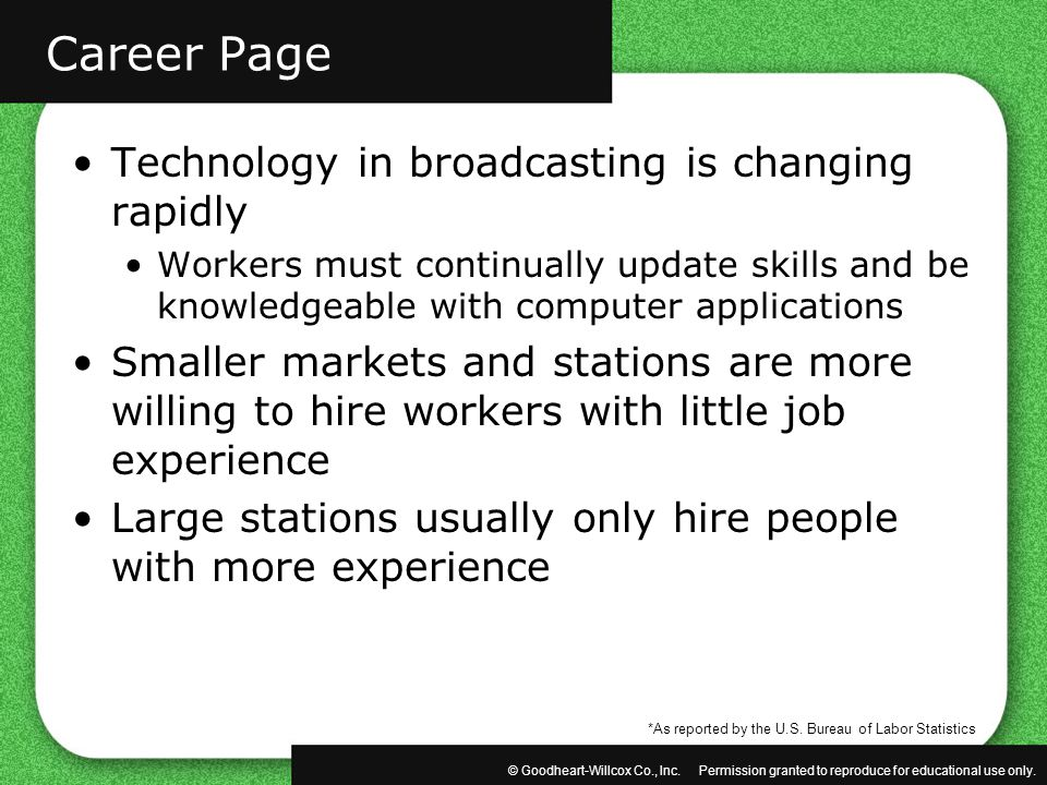 Career Page Technology in broadcasting is changing rapidly