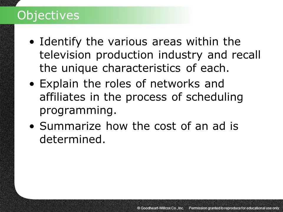 Objectives Identify the various areas within the television production industry and recall the unique characteristics of each.