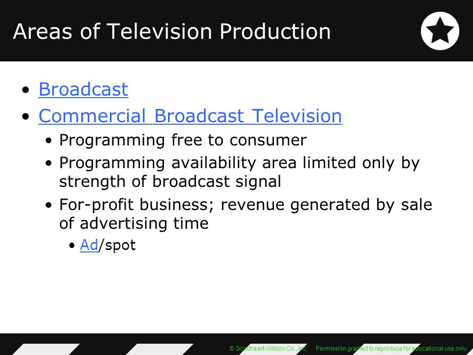Areas of Television Production