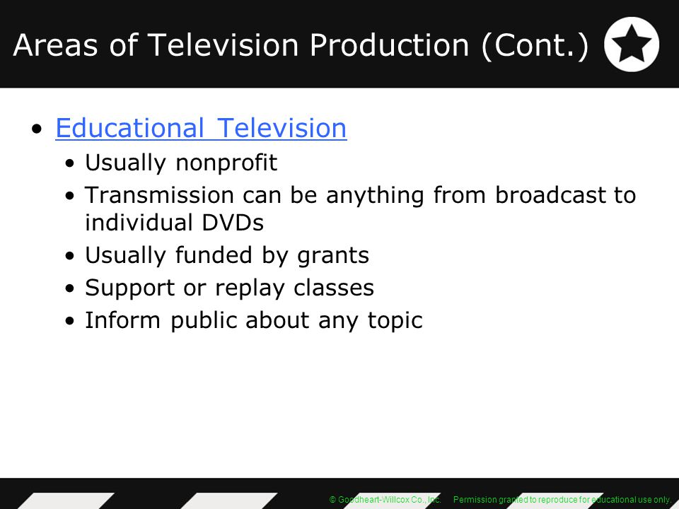 Areas of Television Production (Cont.)