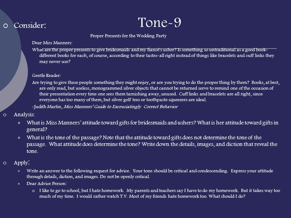 Tone-9 Consider: Proper Presents for the Wedding Party Analysis: