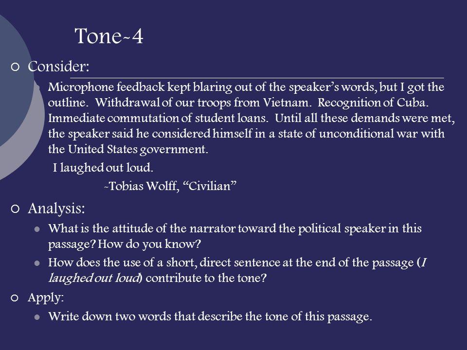 Tone-4 Consider: Analysis: Apply: