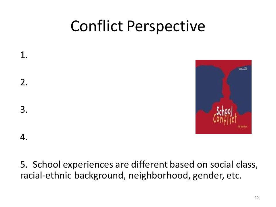 Conflict Perspective 1. 2. 3. 4. 5.