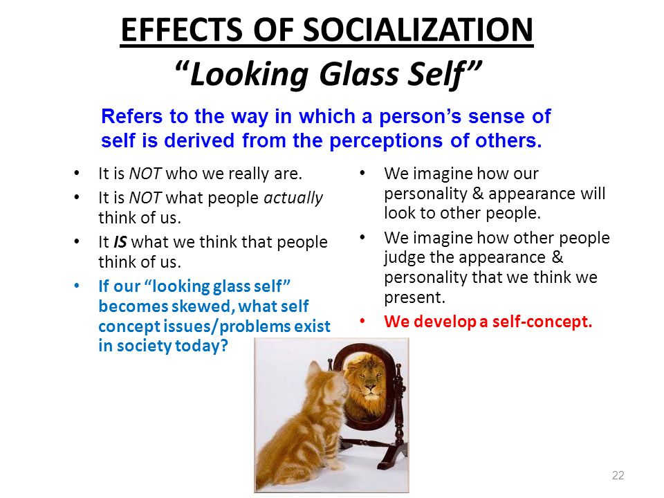 EFFECTS OF SOCIALIZATION Looking Glass Self