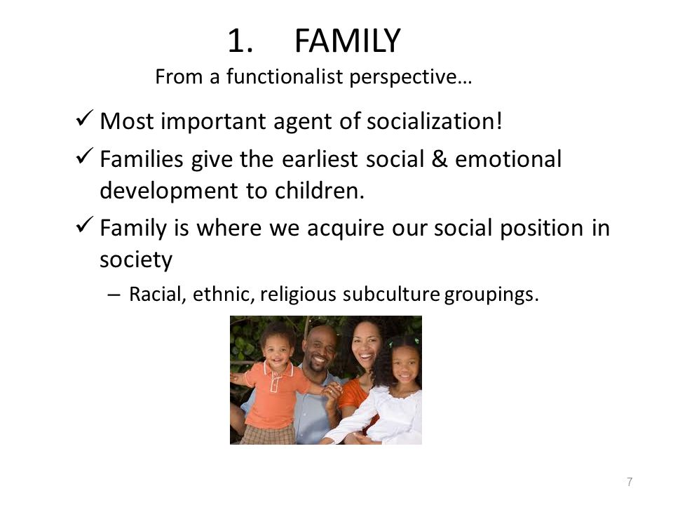 1. FAMILY From a functionalist perspective…