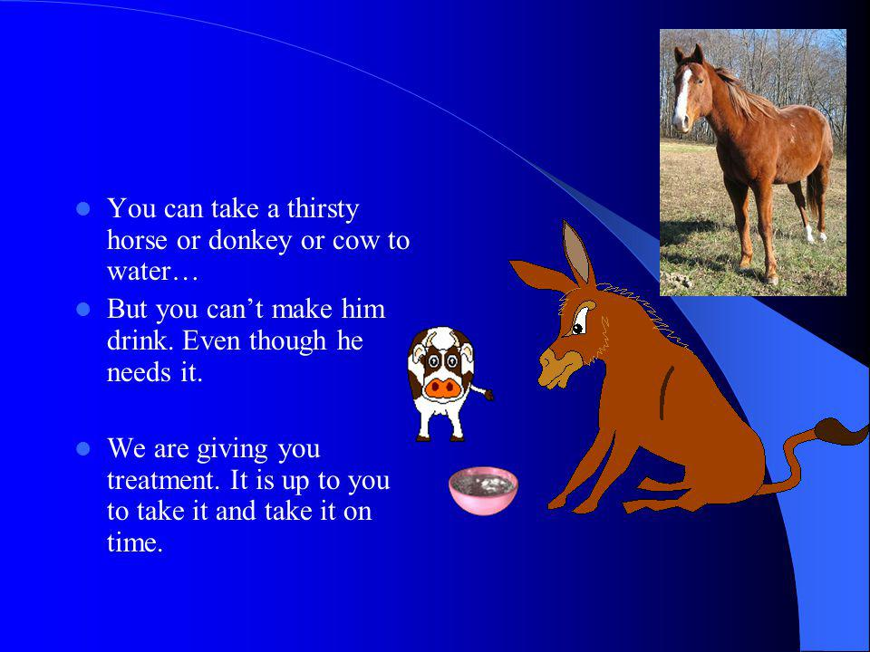 You can take a thirsty horse or donkey or cow to water…