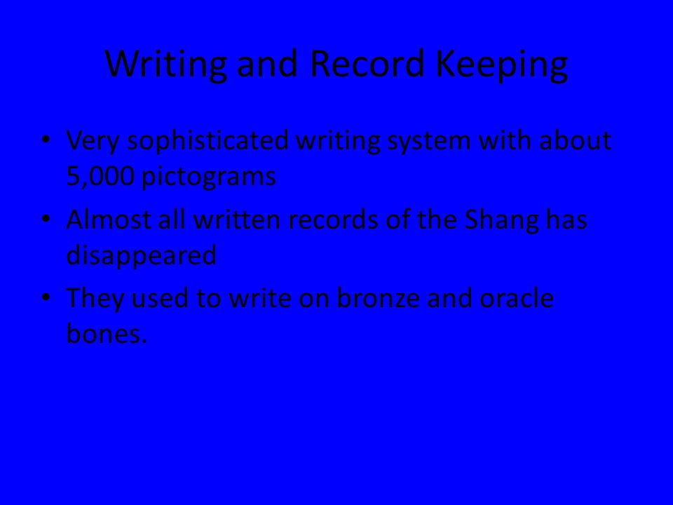 Writing and Record Keeping
