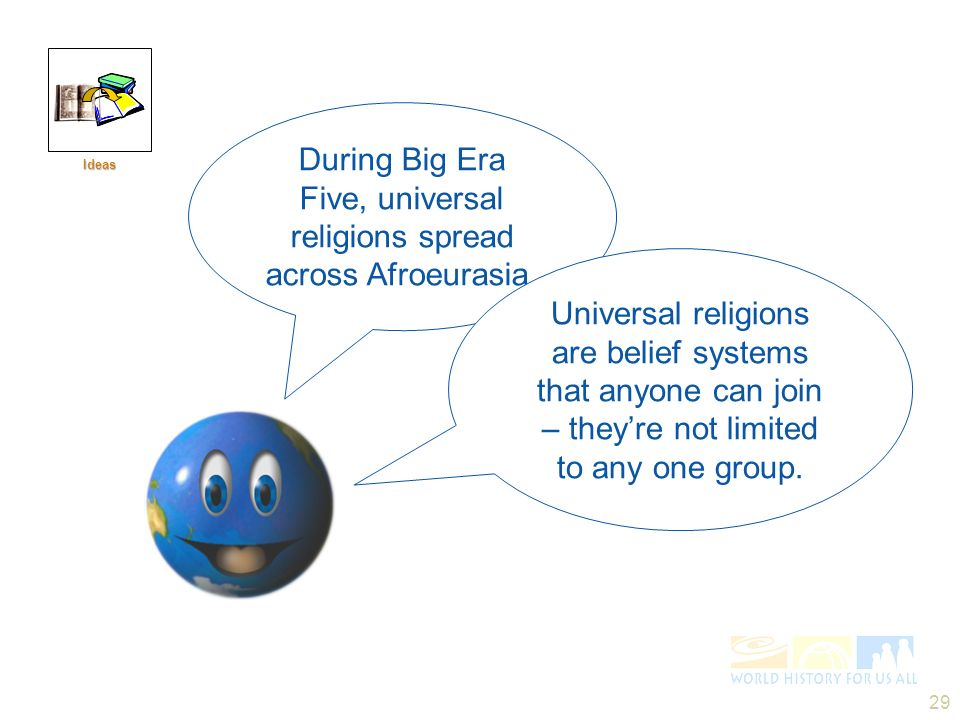 During Big Era Five, universal religions spread across Afroeurasia.