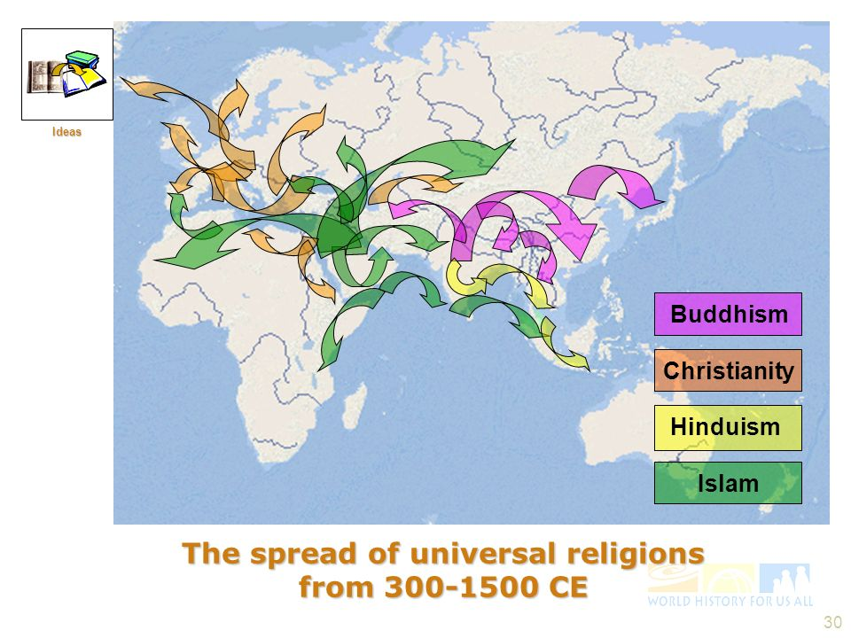 The spread of universal religions from 300-1500 CE
