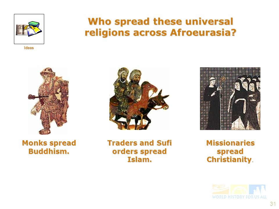 Who spread these universal religions across Afroeurasia