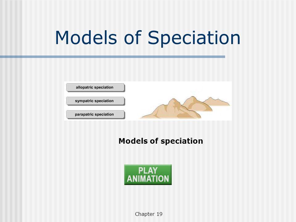 Models of Speciation Models of speciation Chapter 19