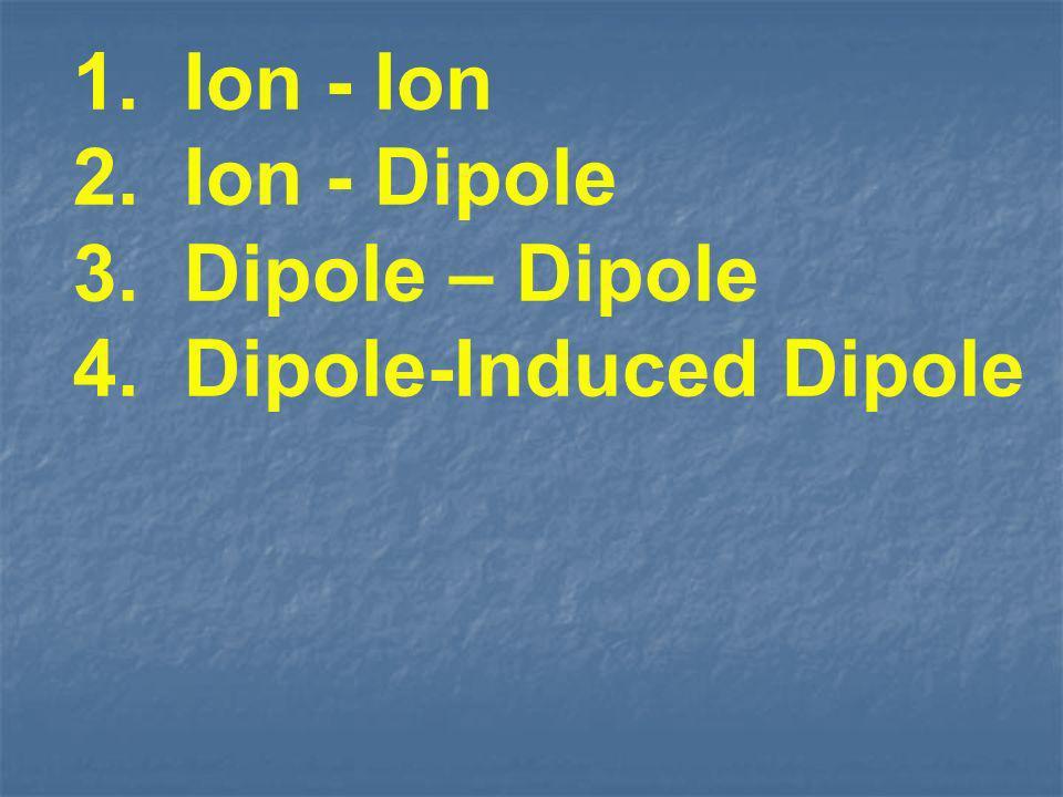 1. Ion - Ion 2. Ion - Dipole Dipole – Dipole 4. Dipole-Induced Dipole