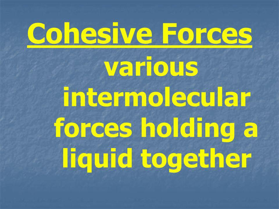 various intermolecular forces holding a liquid together