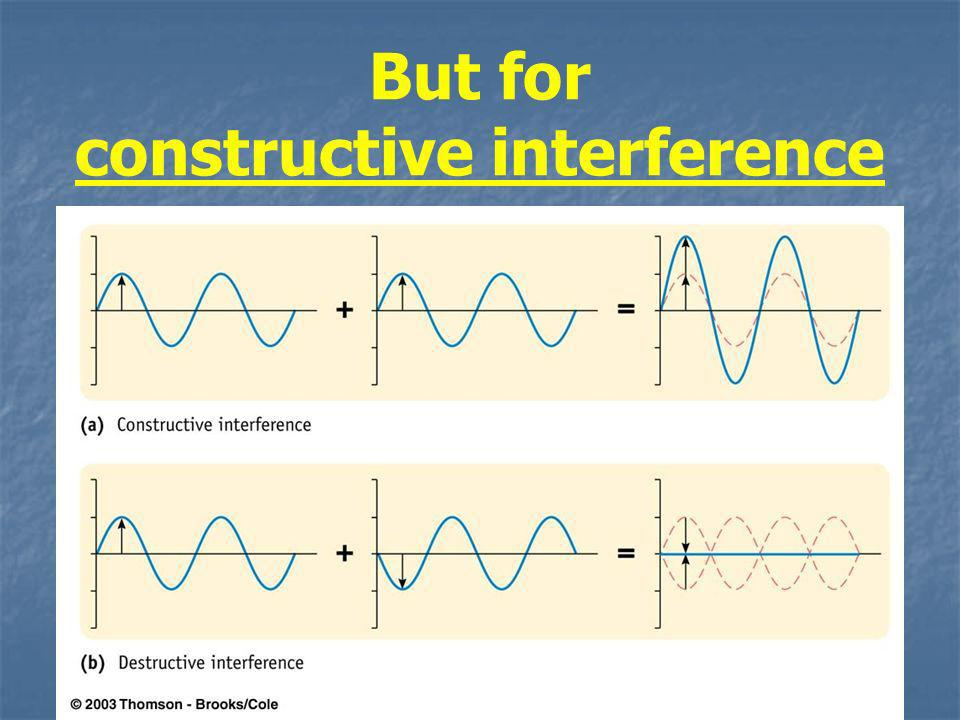 But for constructive interference