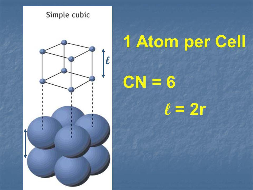 1 Atom per Cell CN = 6 l l = 2r