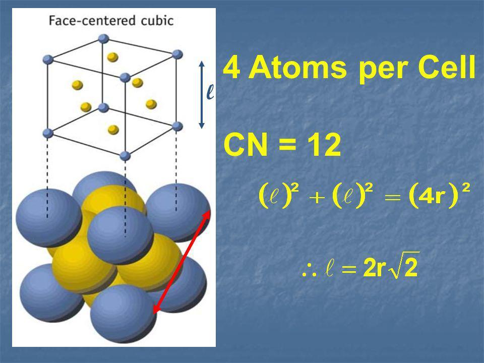 4 Atoms per Cell CN = 12 l