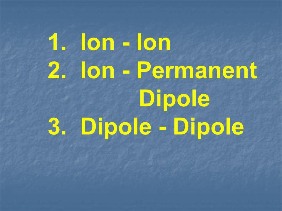 1. Ion - Ion 2. Ion - Permanent Dipole 3. Dipole - Dipole