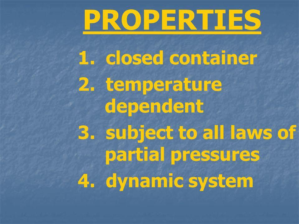 PROPERTIES 1. closed container 2. temperature dependent