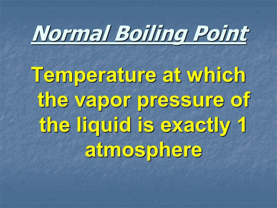 Normal Boiling Point Temperature at which the vapor pressure of the liquid is exactly 1 atmosphere