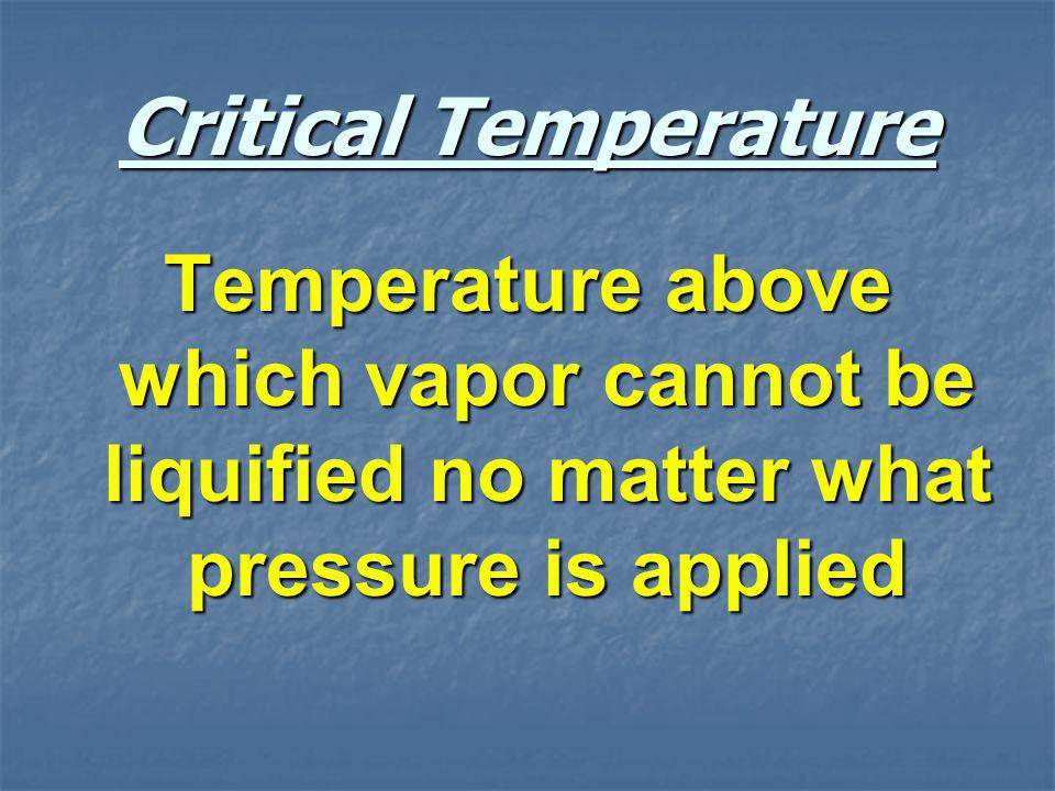 Critical Temperature Temperature above which vapor cannot be liquified no matter what pressure is applied.