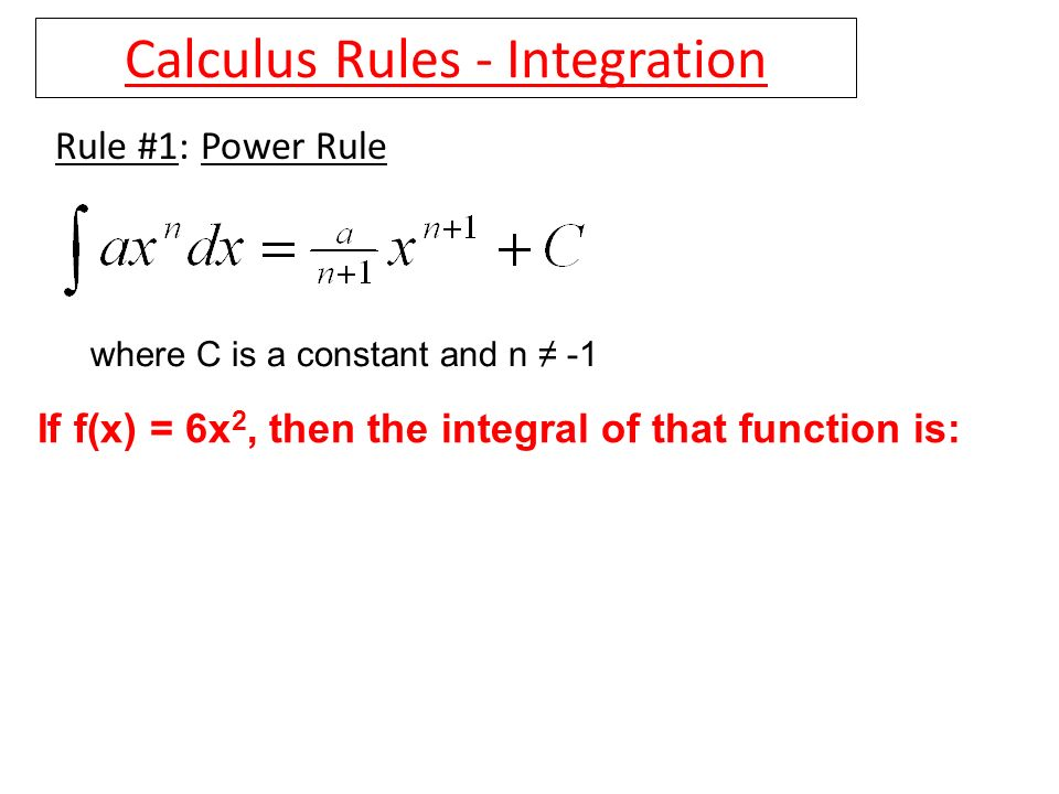 Calculus Rules - Integration