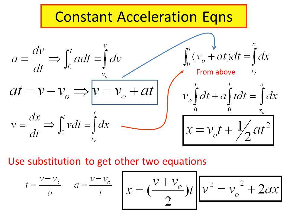 Constant Acceleration Eqns