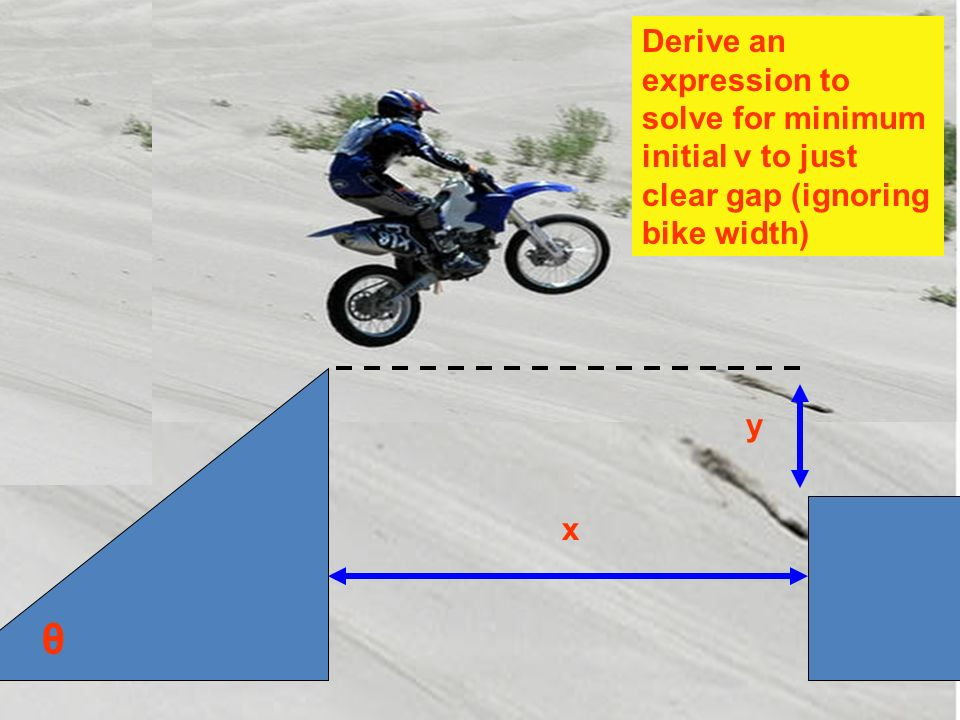 Derive an expression to solve for minimum initial v to just clear gap (ignoring bike width)