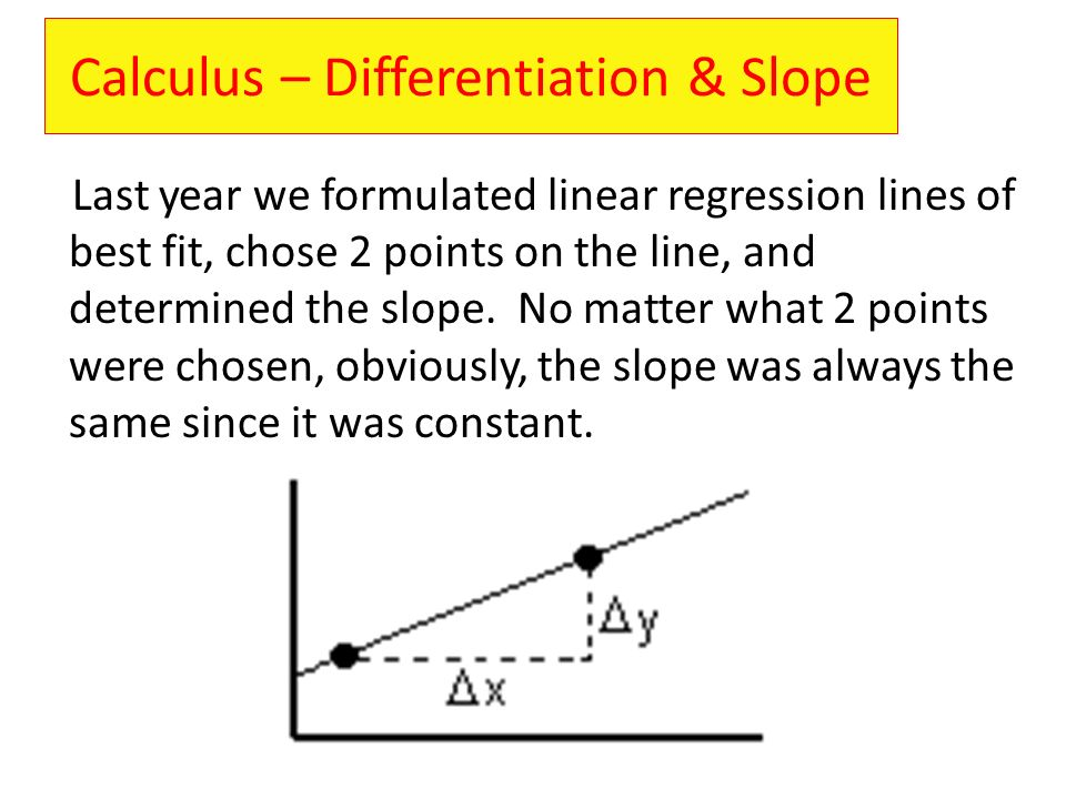 Calculus – Differentiation & Slope
