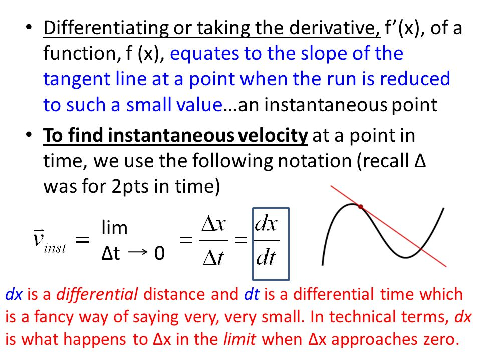 Differentiating or taking the derivative, f'(x), of a function, f (x), equates to the slope of the tangent line at a point when the run is reduced to such a small value…an instantaneous point