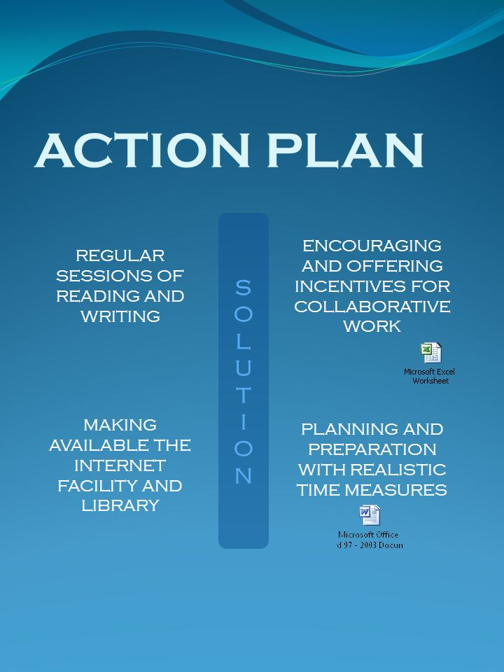 ACTION PLAN REGULAR SESSIONS OF READING AND WRITING. S. O. L. U. T. I. N. ENCOURAGING AND OFFERING INCENTIVES FOR COLLABORATIVE WORK.