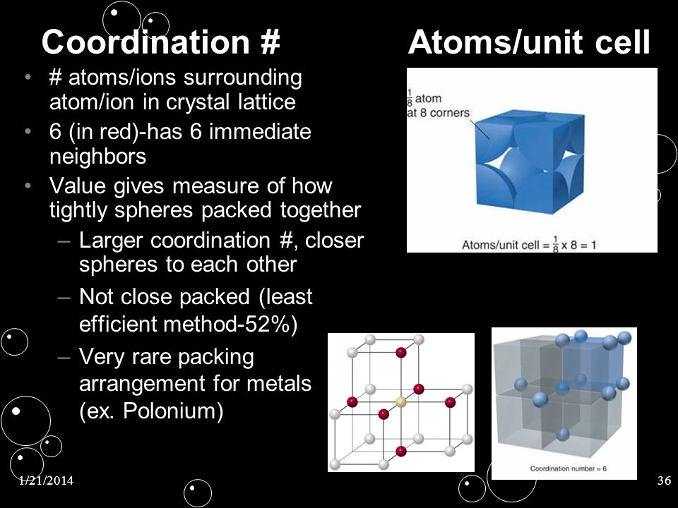 Coordination # Atoms/unit cell