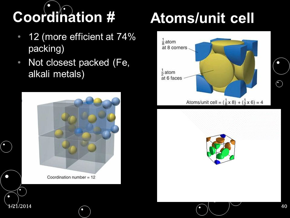 Coordination # Atoms/unit cell 12 (more efficient at 74% packing)