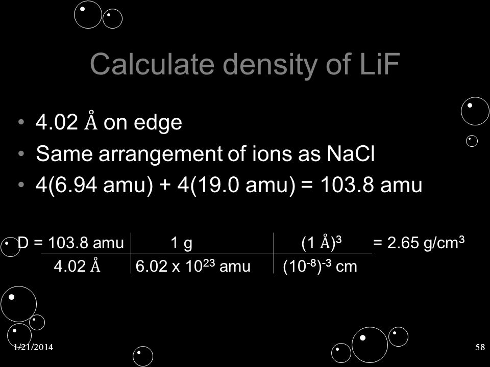 Calculate density of LiF