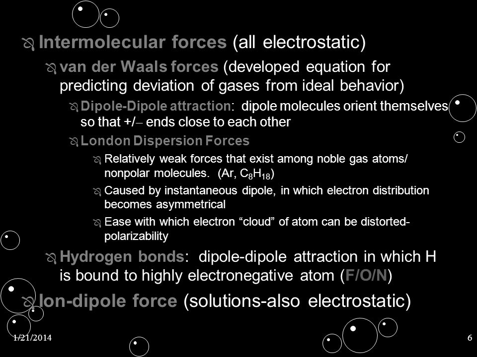 Intermolecular forces (all electrostatic)